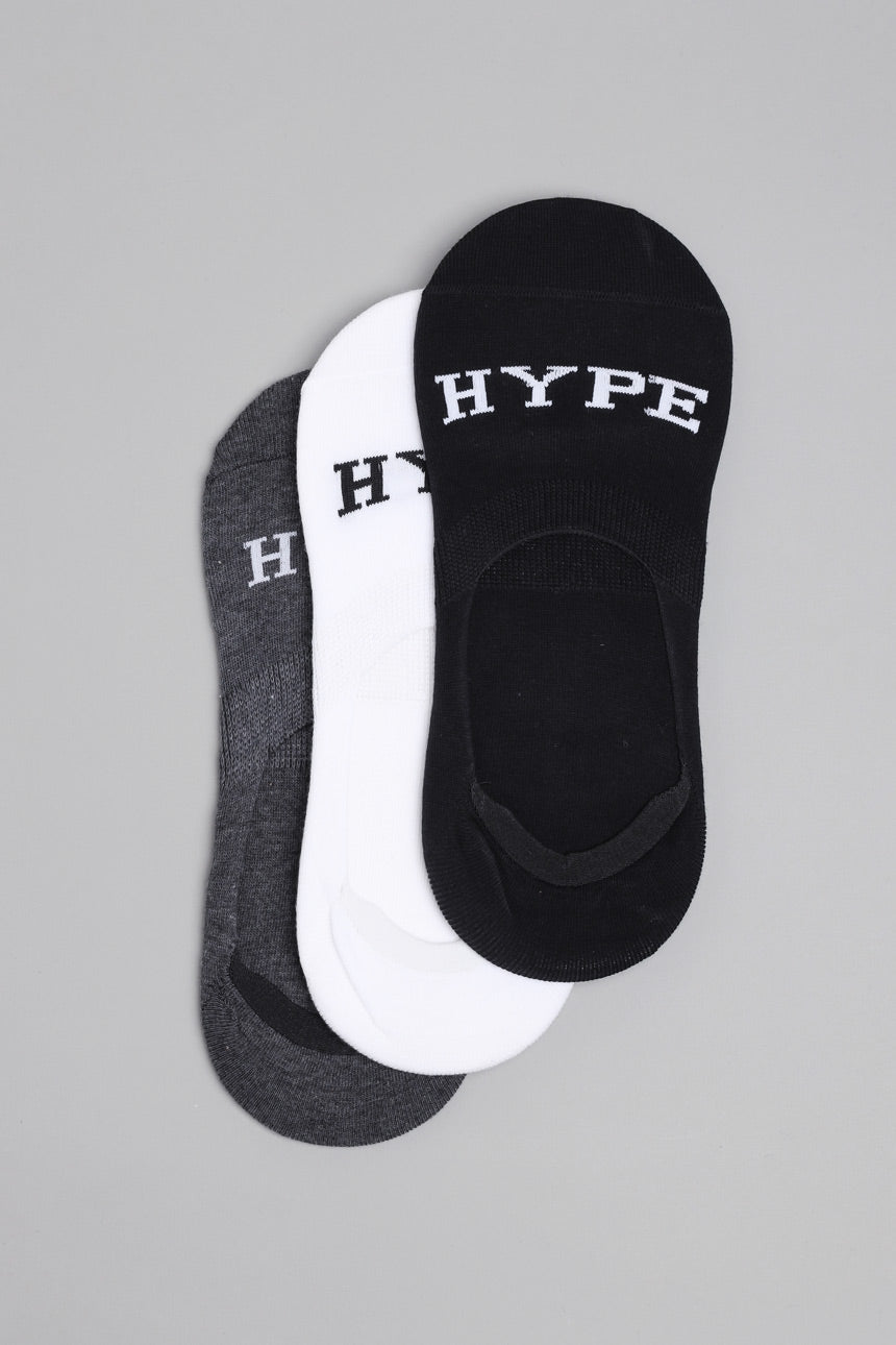3 In 1 Invisible Socks | Black/White/Grey