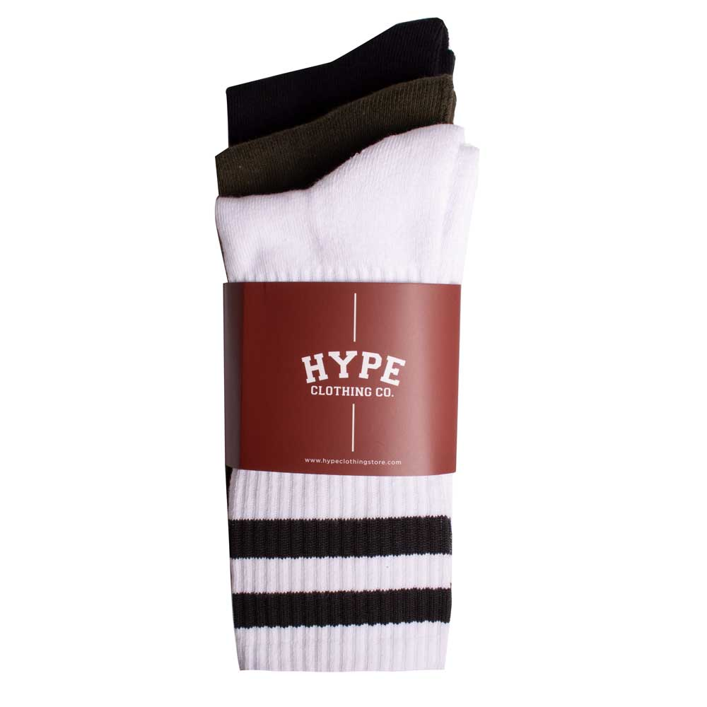 3 In 1 Long Socks | Black/White/Olive