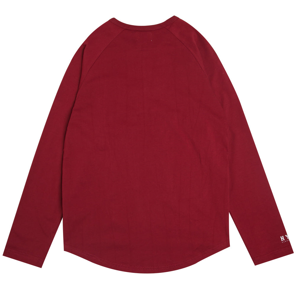 Basic Henley Long Sleeve Tee | Maroon