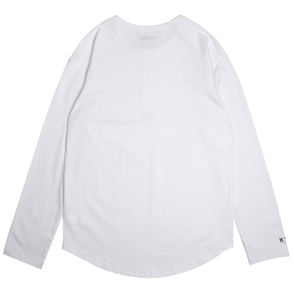 Basic Henley Long Sleeve Tee | White
