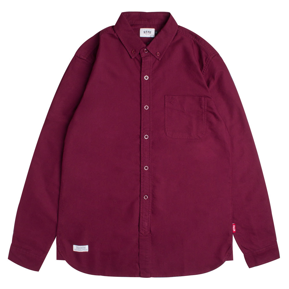 Basic Oxford Long Sleeve Shirt | Maroon