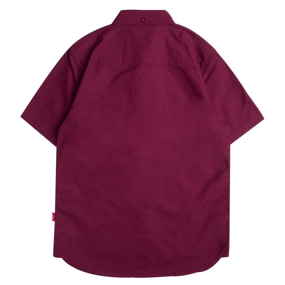 Basic Oxford Short Sleeve Shirt | Maroon