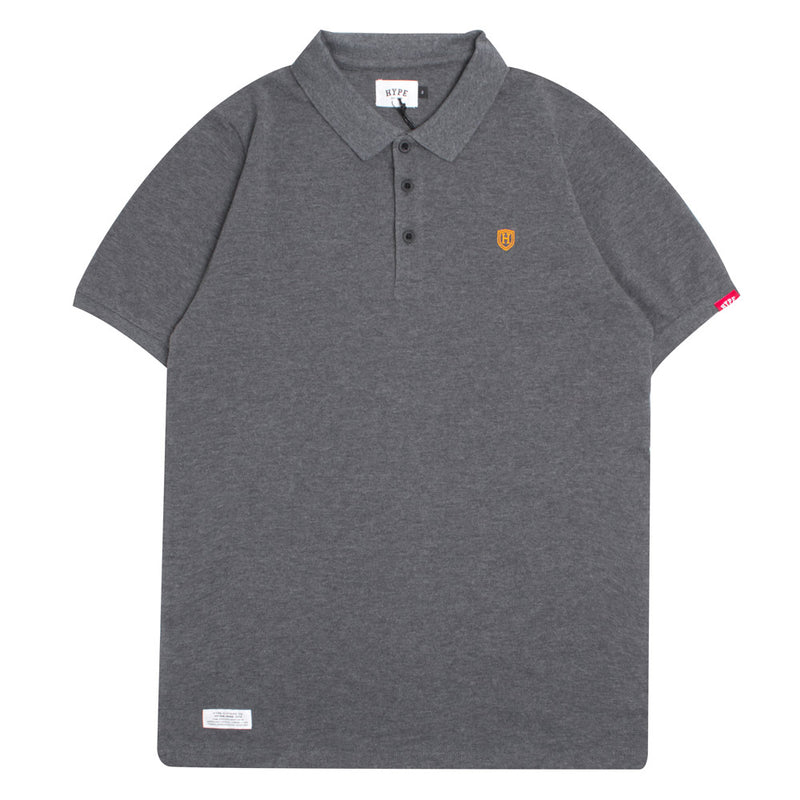 Basic Plain Short Sleeve Polo | Dark Heather Grey