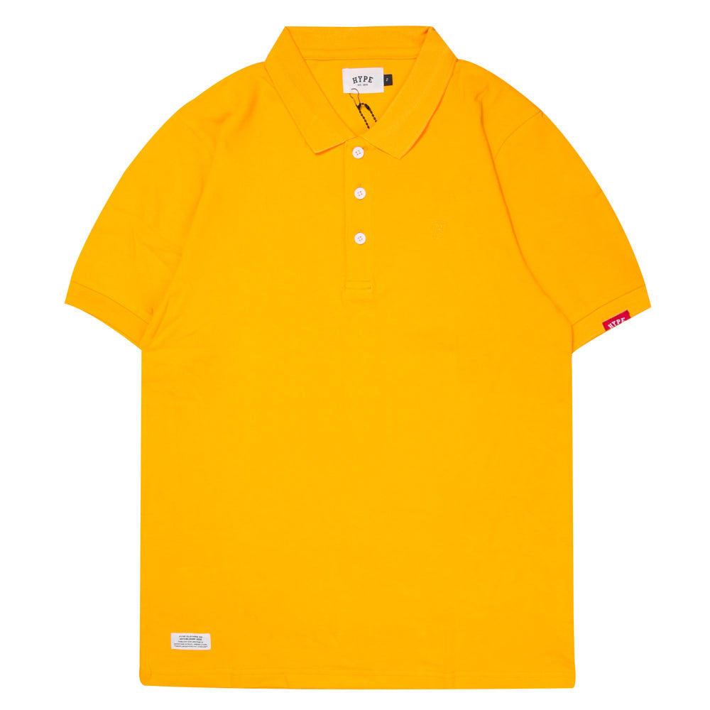 Basic Plain Short Sleeve Polo | Mustard