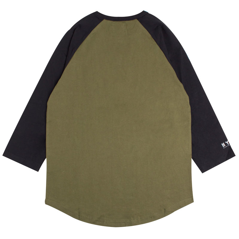 Basic 3/4 Sleeve Raglan | Olive/Black