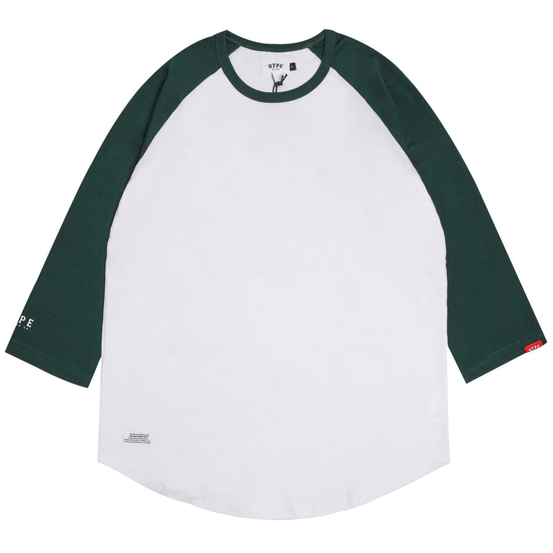 Basic 3/4 Sleeve Raglan | White/Green