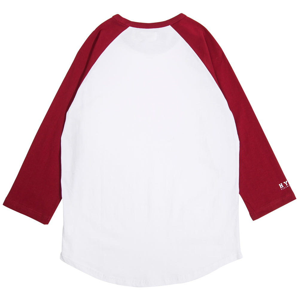 Basic 3/4 Sleeve Raglan | White/Maroon