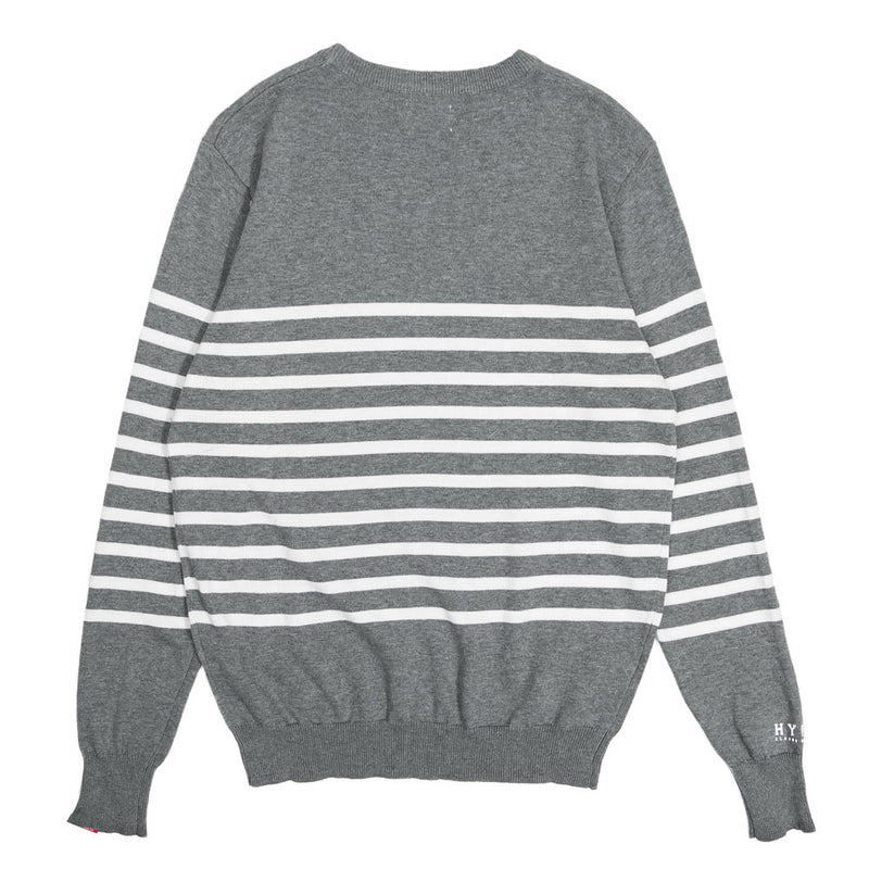Basic Stripe Crew Knit Sweater | Dark Heather Grey