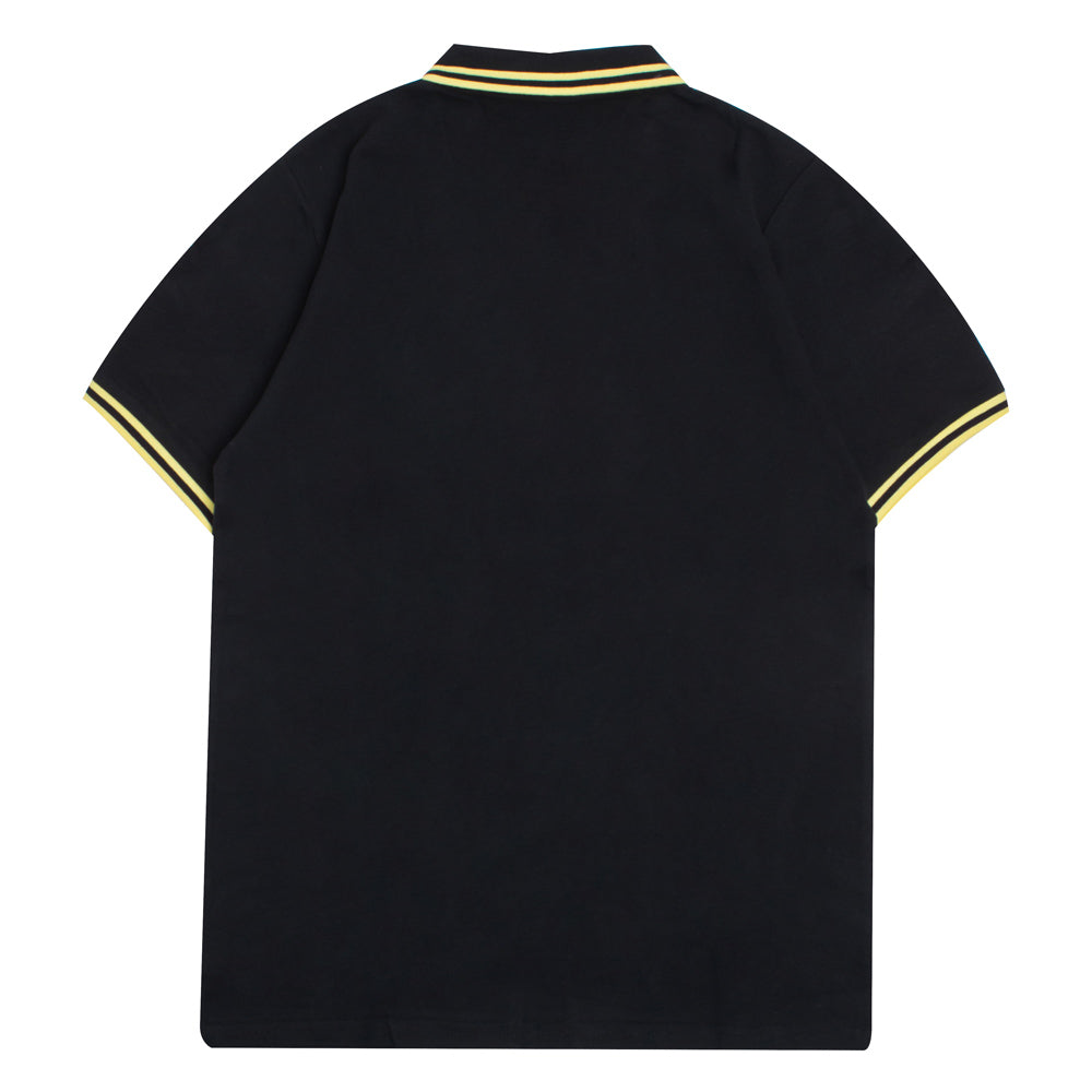 Basic Tipped Short Sleeve Polo | Black/Yellow