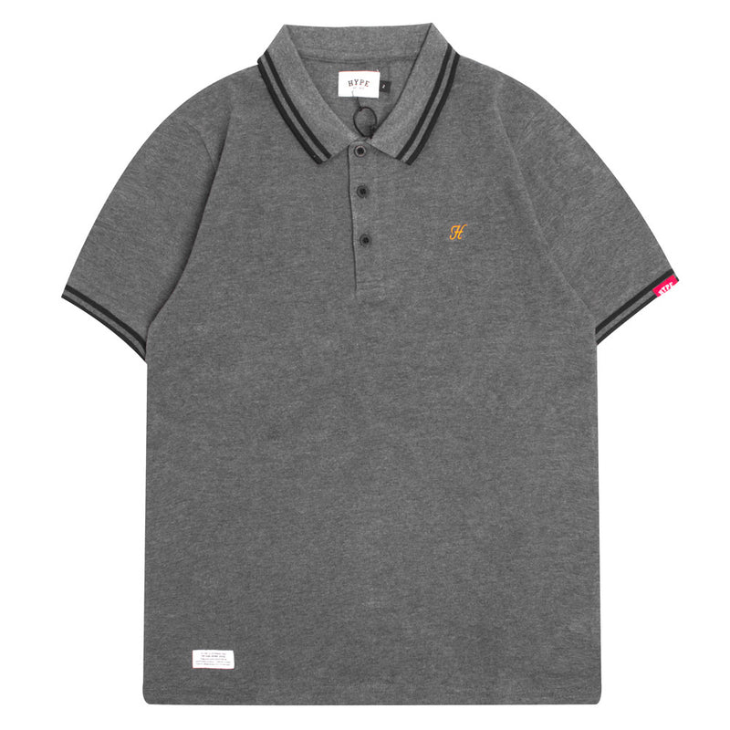Basic Tipped Short Sleeve Polo | Dark Grey/Orange