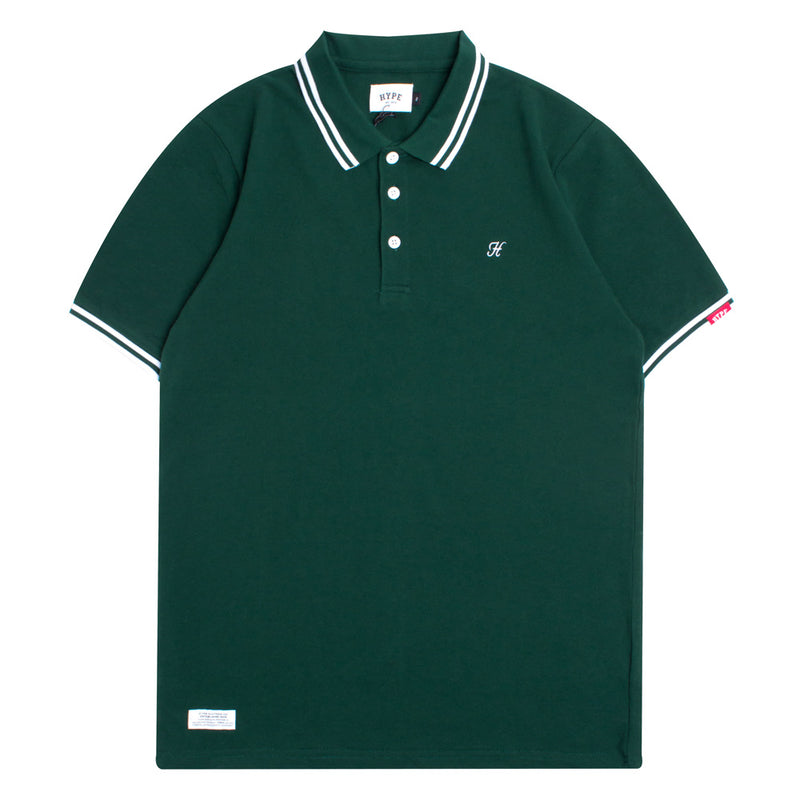 Basic Tipped Short Sleeve Polo | Green/White