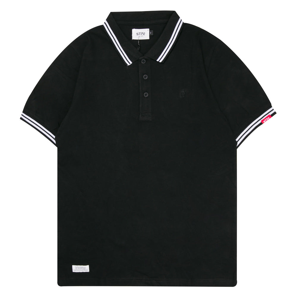 Basic Tipped Short Sleeve Polo | Black