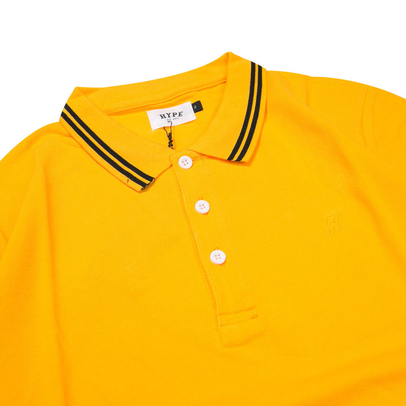 Basic Tipped Short Sleeve Polo | Mustard