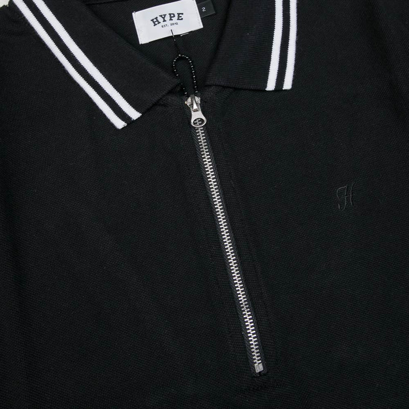 Basic Zip Short Sleeve Polo | Black