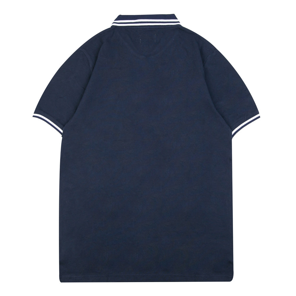 Basic Zip Short Sleeve Polo | Navy