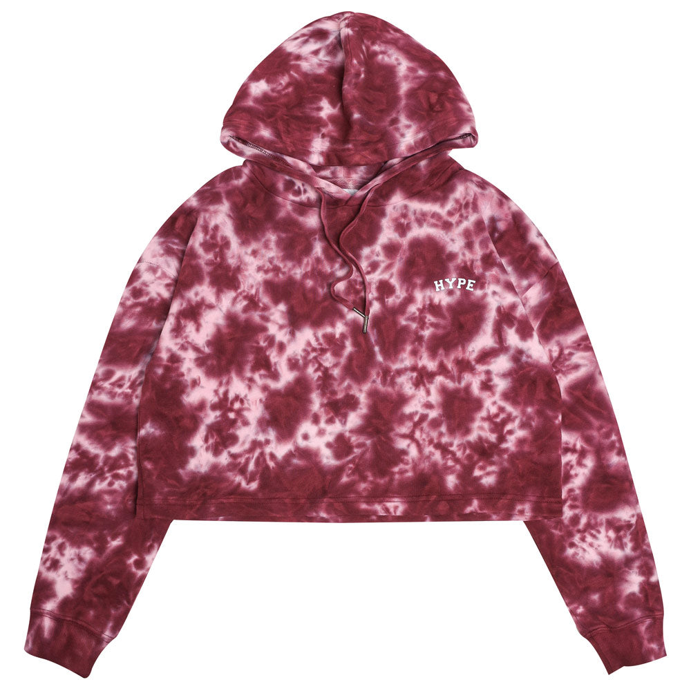 Capsule Women Chief Tie Dye Oversized Crop Hoodie | Maroon