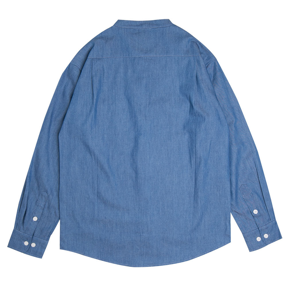 Collarless Denim Long Sleeve Shirt | Blue