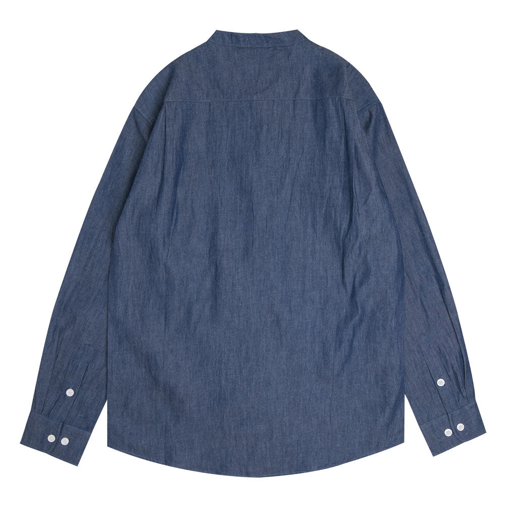 Collarless Denim Long Sleeve Shirt | Dark Denim