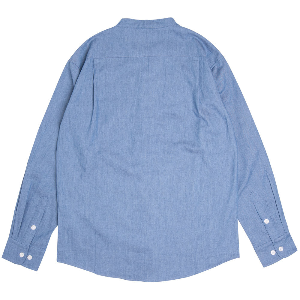Collarless Denim Long Sleeve Shirt | Light Blue