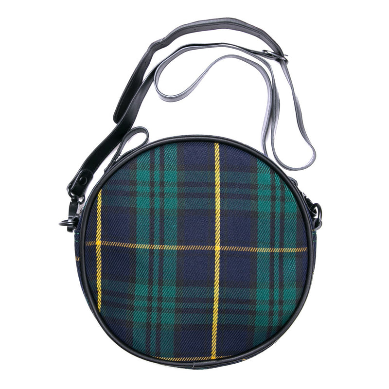 Capsule Her's Stories Roundlet Checked Sling Bag | Green / Navy
