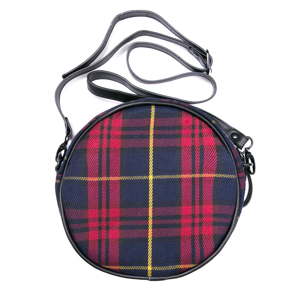 Capsule Her's Stories Roundlet Checked Sling Bag | Red / Navy