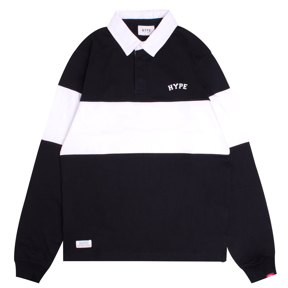 Signature Chief Rubgy Long Sleeve Polo | Black/White