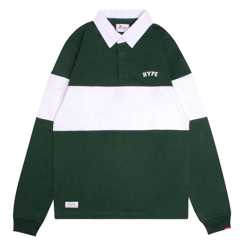 Signature Chief Rubgy Long Sleeve Polo | Green/White