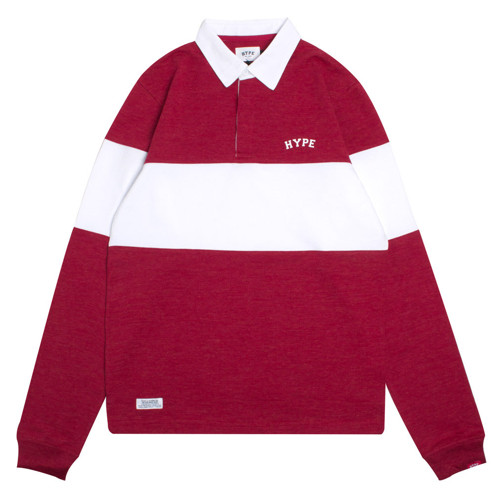 Signature Chief Rubgy Long Sleeve Polo | Heather Red/White