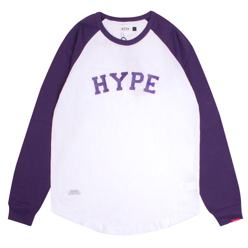 Signature General Long Sleeve Raglan | White/Purple