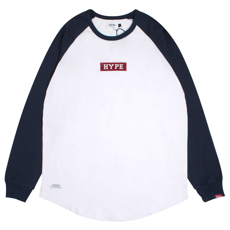 Signature Major Long Sleeve Raglan Tee | White/Navy