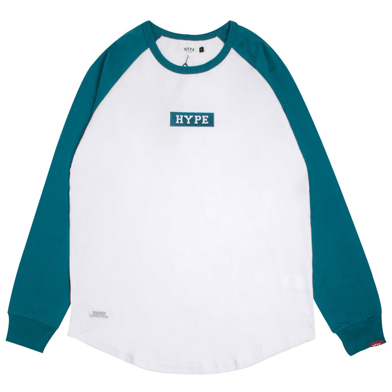 Signature Major Long Sleeve Raglan Tee | White/Turquoise