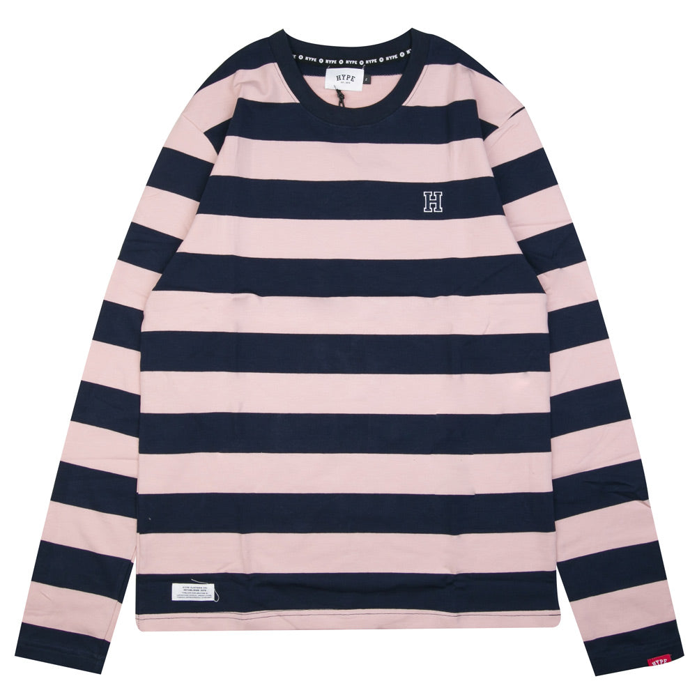 Signature Stripe Long Sleeve Tee | Navy/Pink