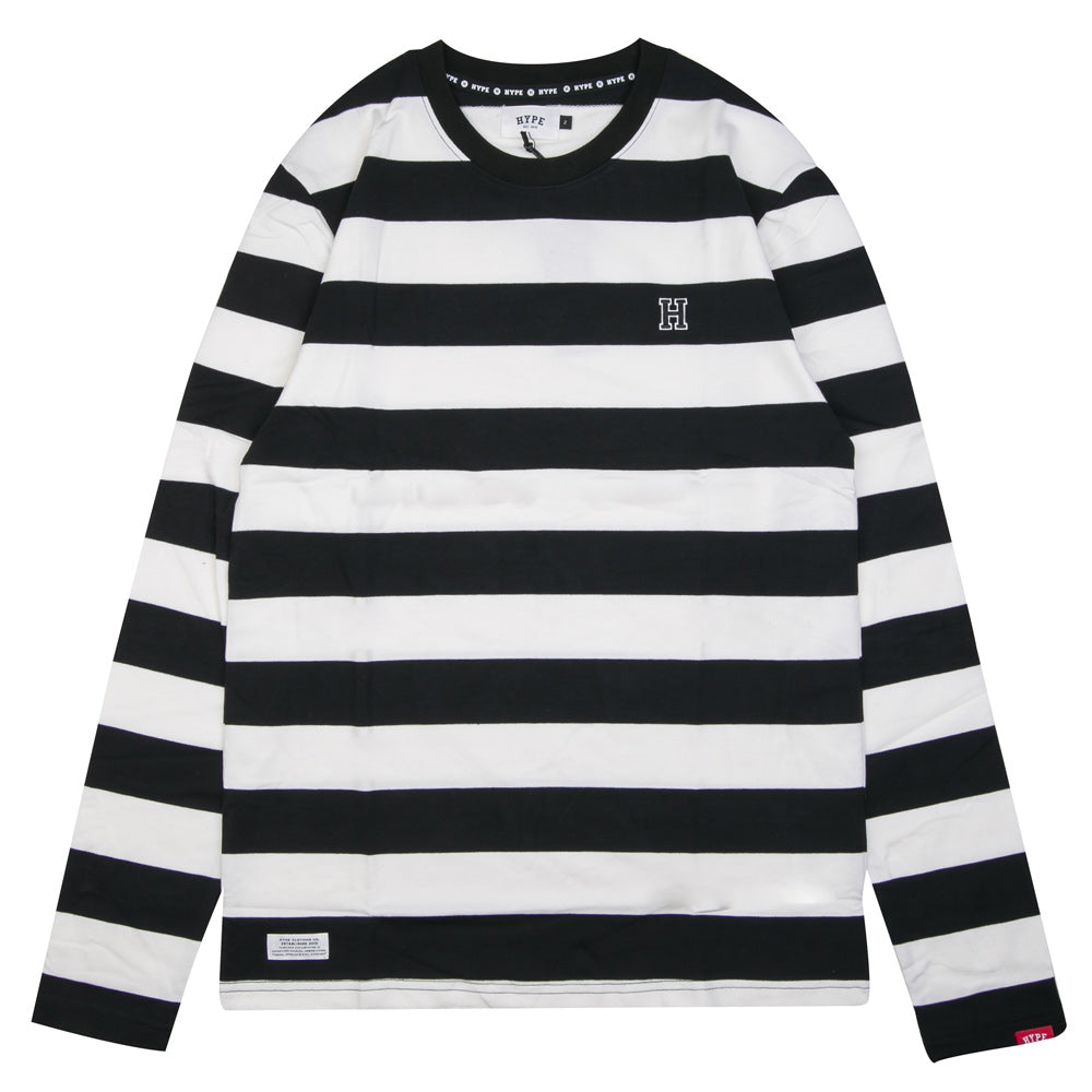 Signature Stripe Long Sleeve Tee | White/Black