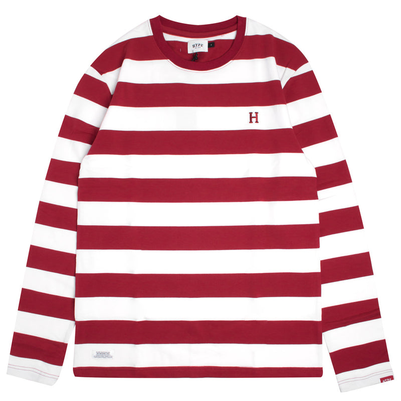 Signature Stripe Long Sleeve Tee | White/Maroon