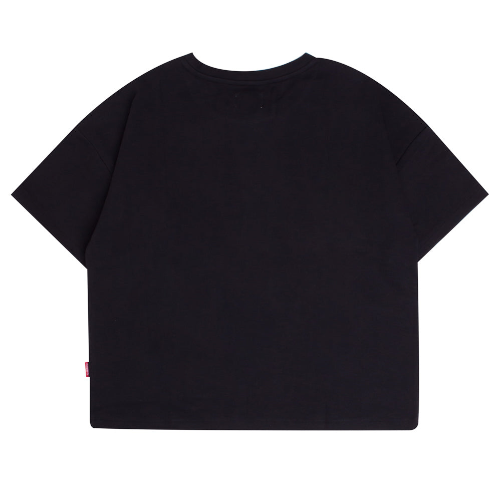 Signature Women General Oversized Crop Top | Black
