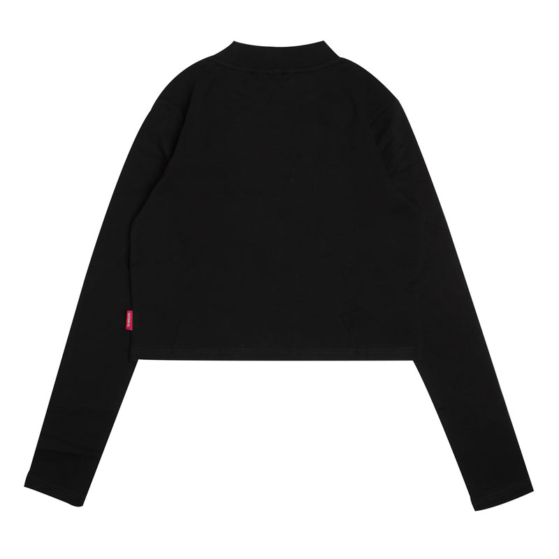 Signature Women Major Turtle Neck Long Sleeve Crop Top | Black