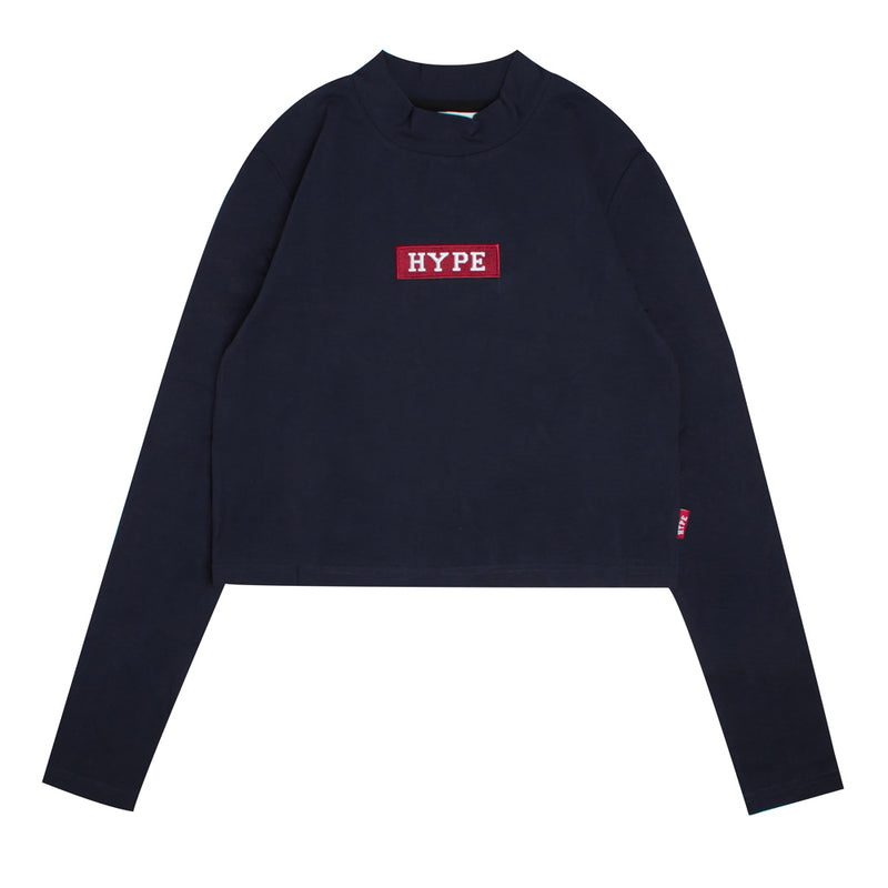 Signature Women Major Turtle Neck Long Sleeve Crop Top | Navy