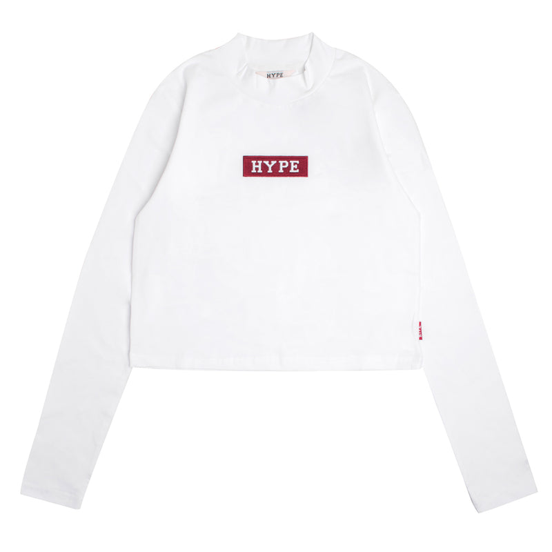 Signature Women Major Turtle Neck Long Sleeve Crop Top | White