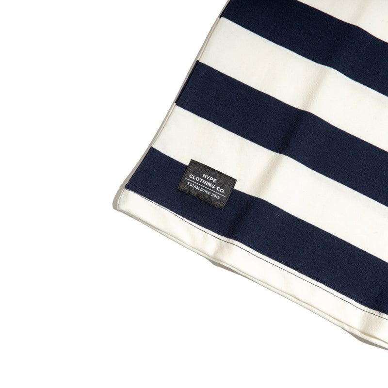 Signature Square Label Stripe Tee | Navy/ White