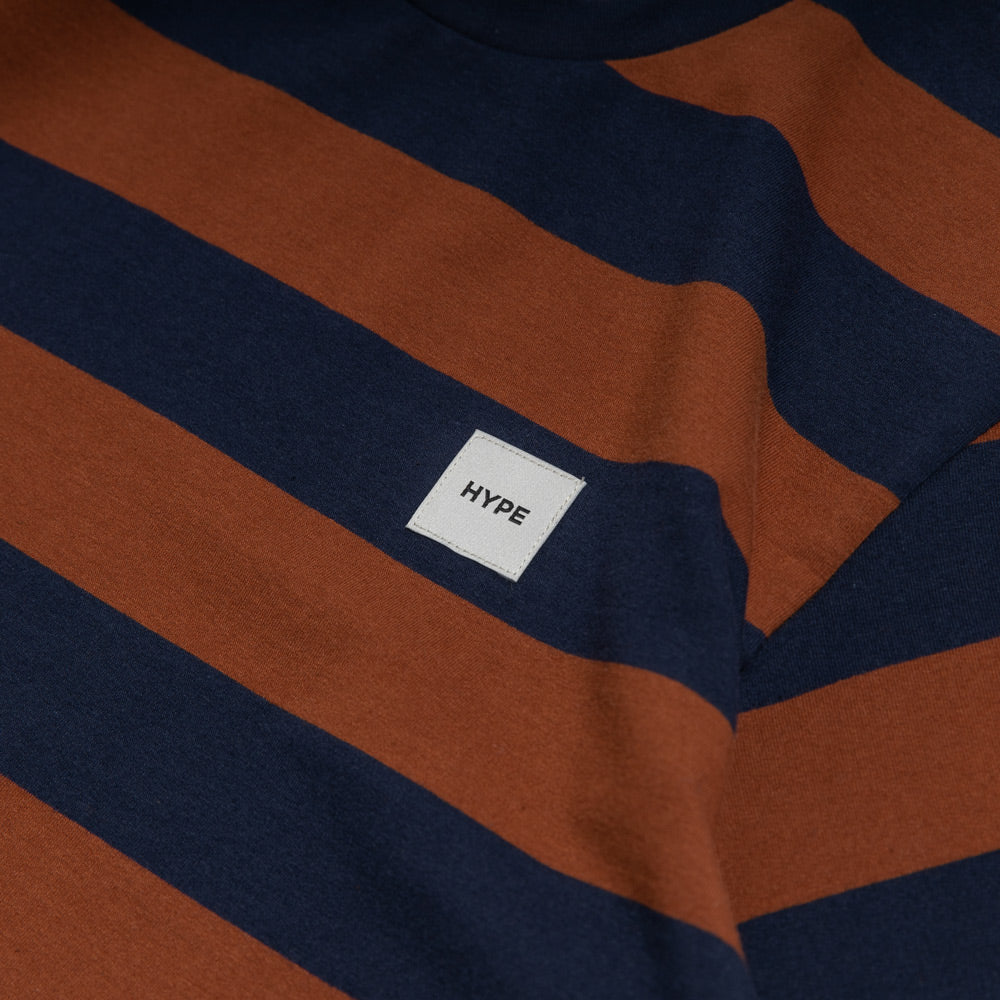 Signature Square Label Stripe Tee | Navy / Brown