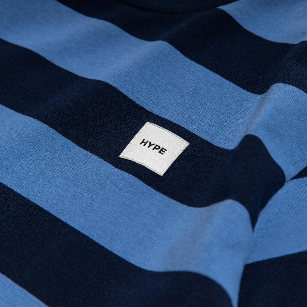 Signature Square Label Stripe Tee | Navy / Blue