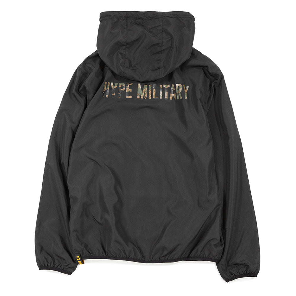 Capsule Military Windbreaker Zip Hoodie | Black
