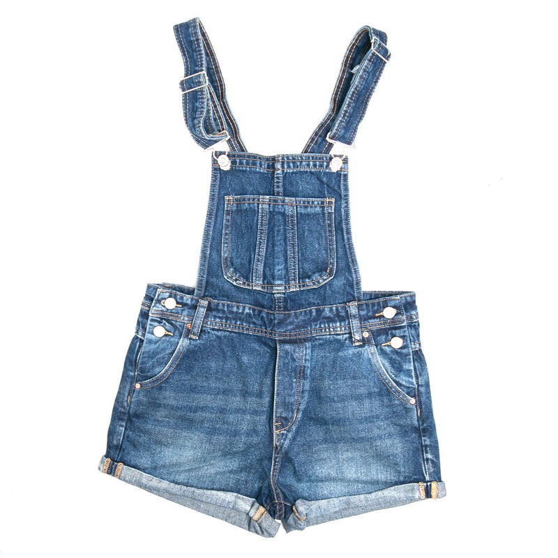 Ladies Denim Overall Shorts | Dark Denim