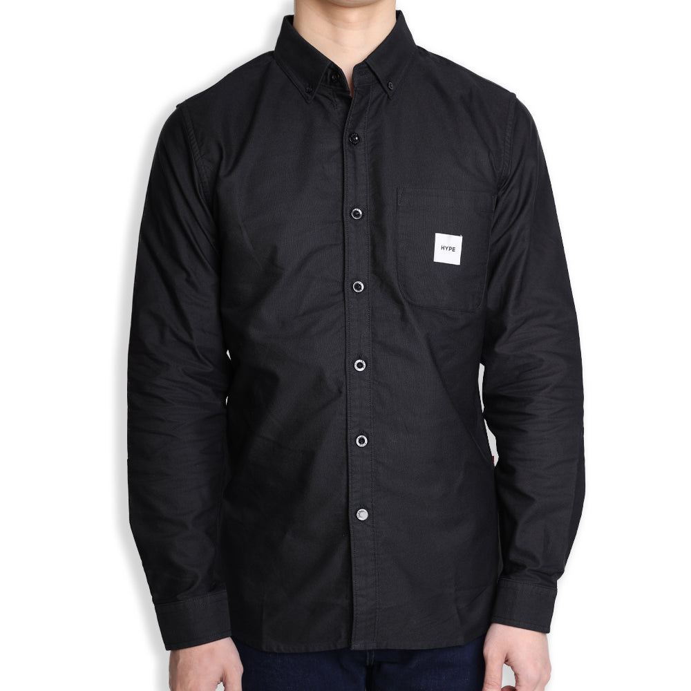 Signature Square Label Oxford Long Sleeve Shirt | Black