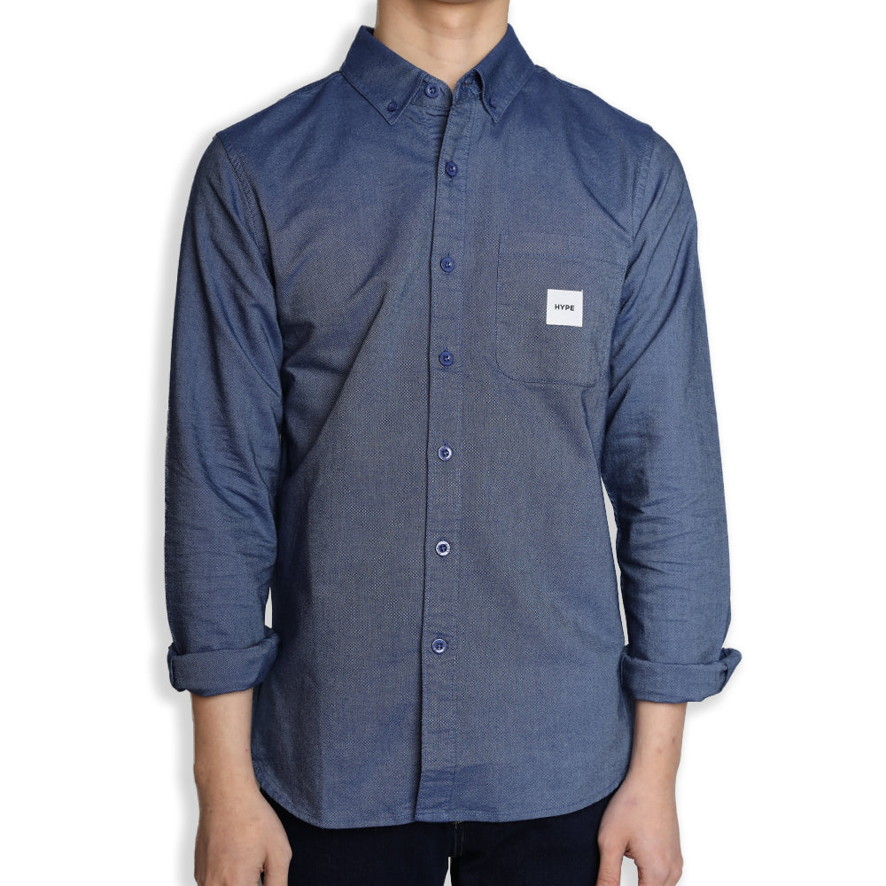 Signature Square Label Oxford Long Sleeve Shirt | Blue