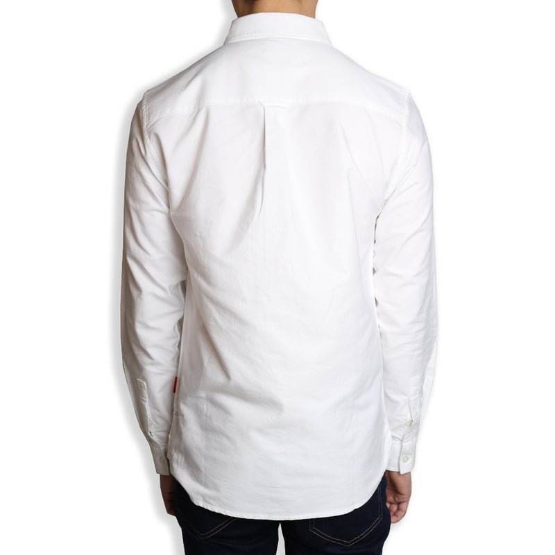 Signature Square Label Oxford Long Sleeve Shirt | White