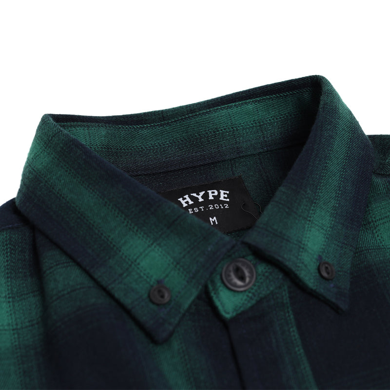 Signature Square Label Checked Long Sleeve Shirt | Green
