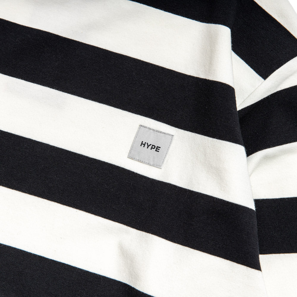 Signature Square Label Stripe Long Sleeve Tee | Black / White