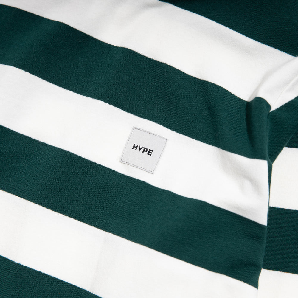Signature Square Label Stripe Long Sleeve Tee | Green / White