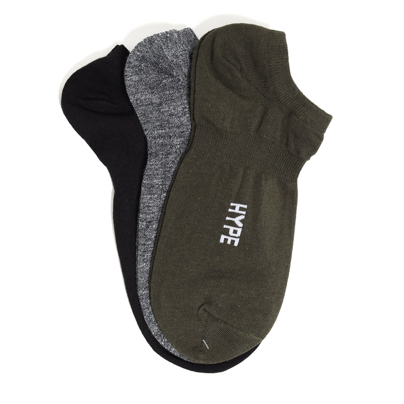 3 In 1 Seasonal Ankle Socks Pack | Black / Olive / Heather Grey